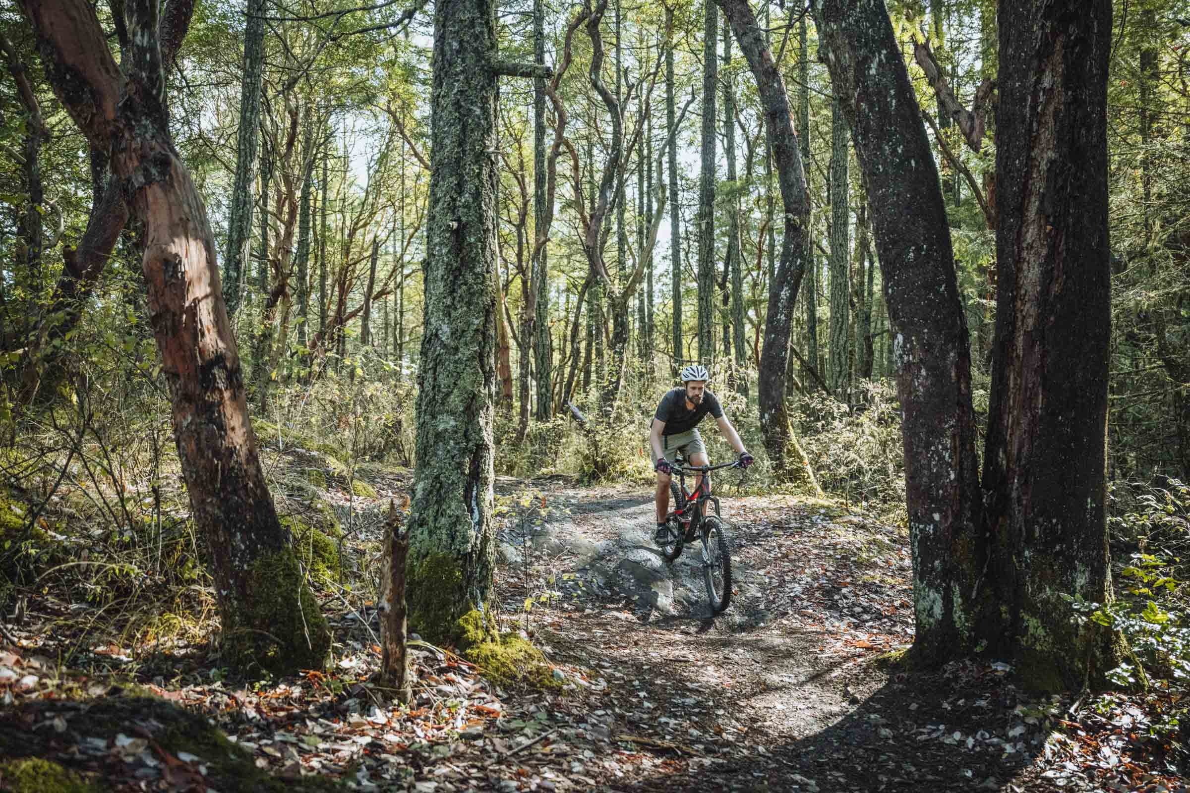 Taking it easy on the nice flat forest sections of the Mt Work mountain bike trails