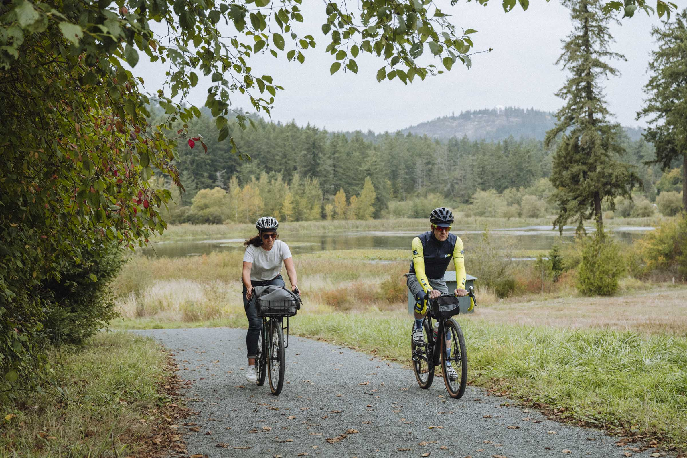 Riding one of the many nice interurban trails that connect Greater Victoria