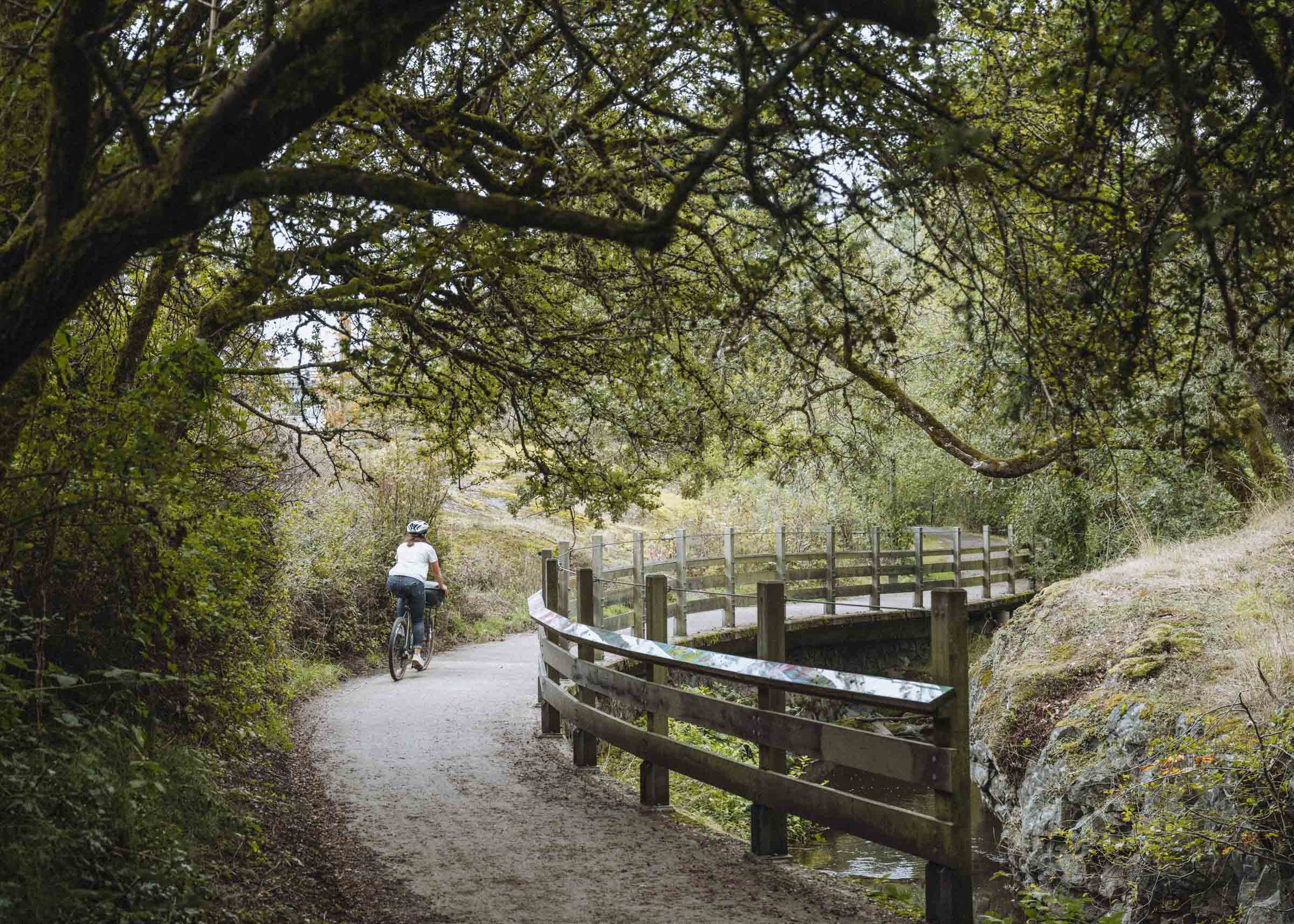 Riding along the Colquitz River bike trails
